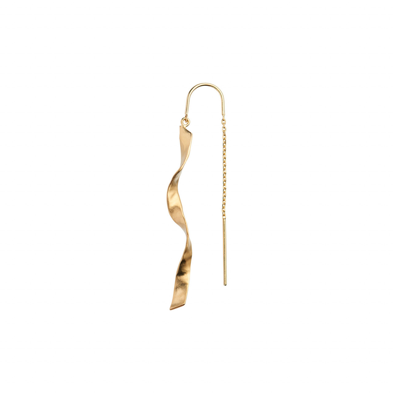Long Twisted Hammered Earring with Chain Gold