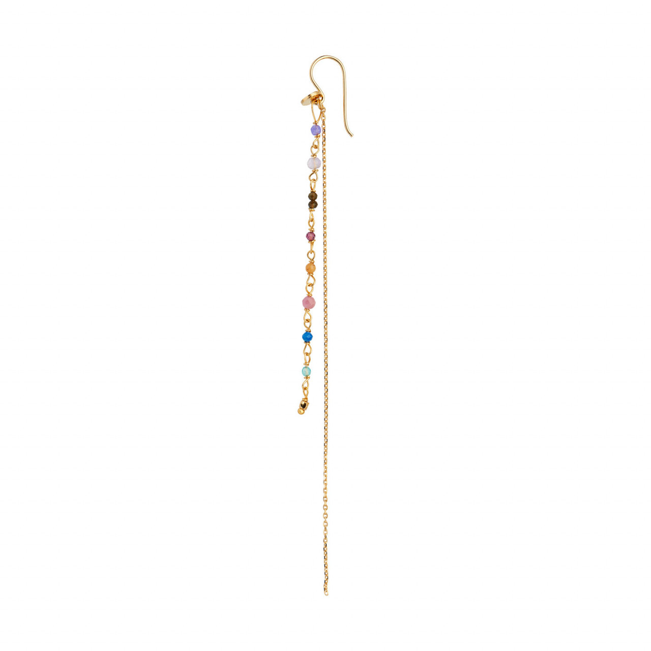 Petit Gemstones with Long Chain Earring Gold - Berry Mix