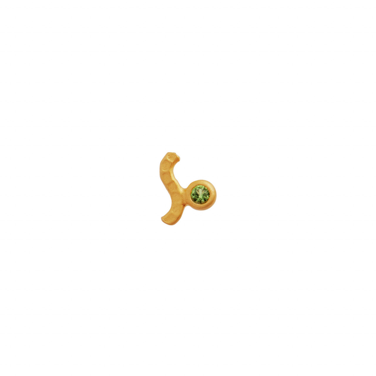 Petit Wave Earring Gold with Stone - Olive