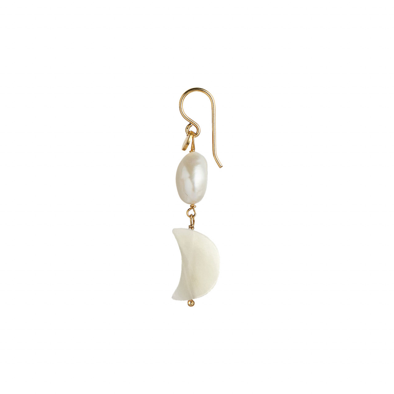 Midnight Moon and Baroque Pearl Earring Gold