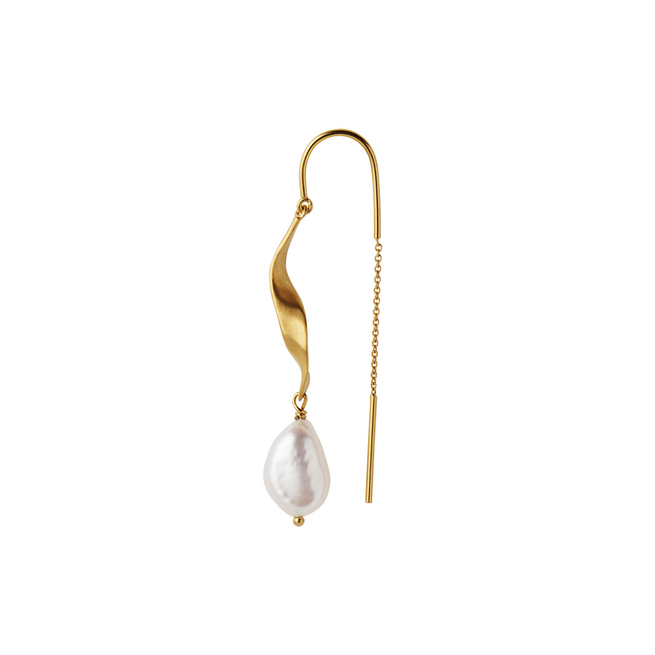 Long Twisted Earring with Baroque Pearl Gold