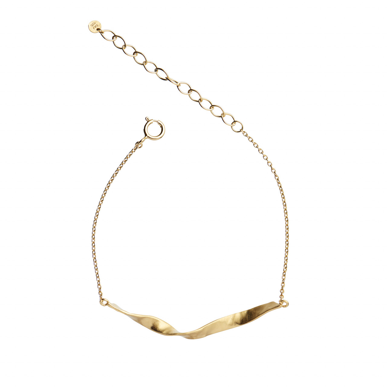 Twisted Hammered Bracelet Gold