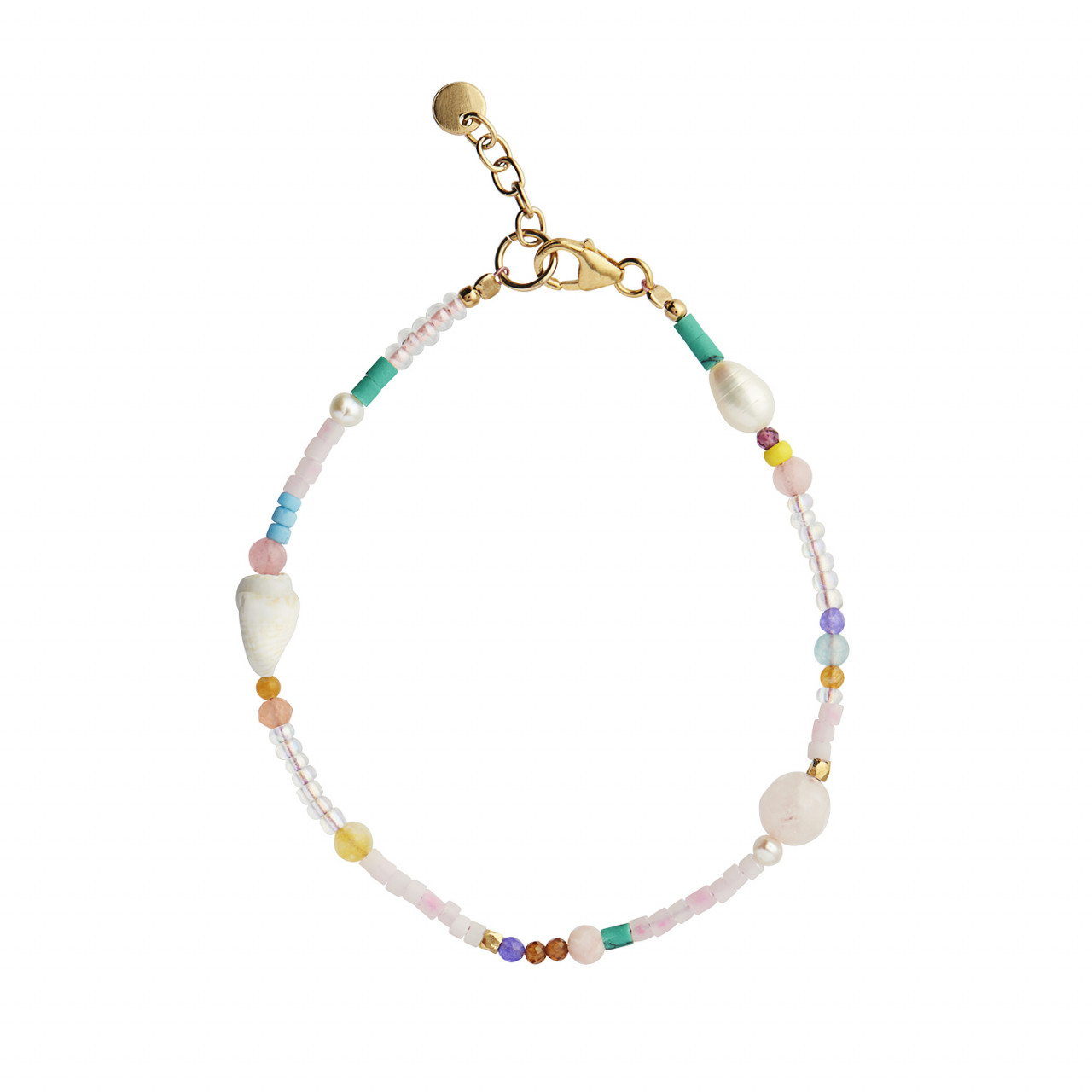 Pink Beach Bracelet - Gemstones, Pearls, Glass Beads and Shell - Gold