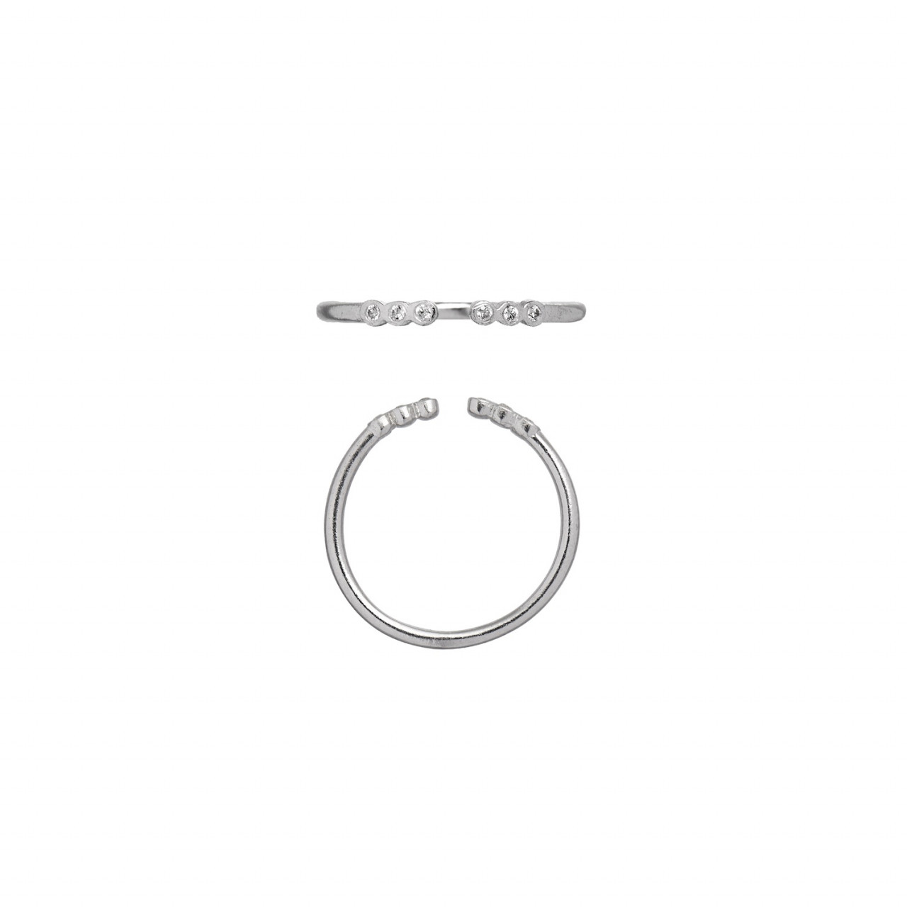 Open Six Dots Ring Silver