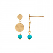 Petit Hammered Coin and Stone - Turquoise