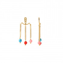 Dancing Chains Behind Ear with Stones Gold - Coral/Turquoise