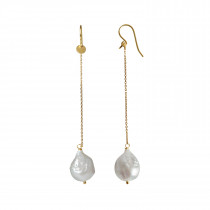 Dangling White Pearl with Long Chain Earring