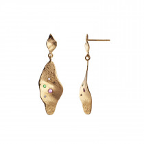 Dangling Ile De L'Amour Earring with Stones Gold