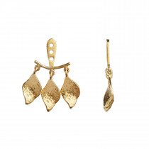 Three Dancing Ile De L'Amour Behind Ear Earring Gold