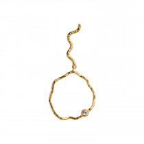 Wavy Circle Earring with Stone Left Gold