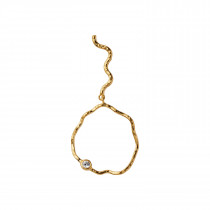 Wavy Circle Earring with Stone Right Gold