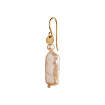 Long Baroque Pearl Earring Peach Sorbet Gold