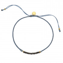 Candy Bracelet - Black Spinel and Jeans Blue Ribbon