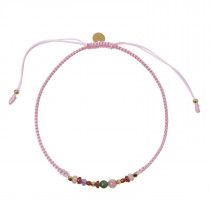 Candy Bracelet - Multi Mix and Light Pink Ribbon