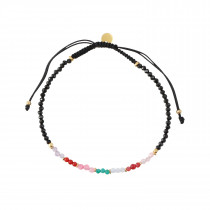Rainbow Mix with Black Spinel and Black Ribbon Bracelet