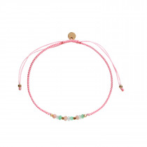 Candy Bracelet - Green Summer Mix and Light Pink Ribbon