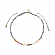 Berry Rainbow Mix with Grey Jade and Khakigrey Ribbon Bracelet