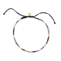 Rainbow Mix and Black Ribbon Bracelet