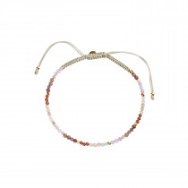 Red Barnet Light Rainbow Mix and Khakigreen Ribbon Bracelet
