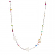White Midnight Necklace with Moon, Star and Multicolor Stones