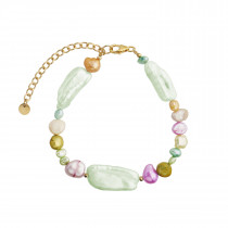 Baroque Pearl Bracelet - Green Mint & Pastel Mix