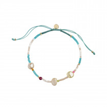 Deep Sea Bracelet - Oceanblue & Soft Nude Stones and Oceanblue Ribbon