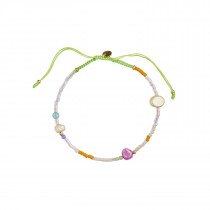 Deep Sea Bracelet - Yellow & Pale Rose Stones and Apple Green Ribbon