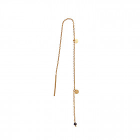 Dangling Petit Coin And Stone - Black Spinel