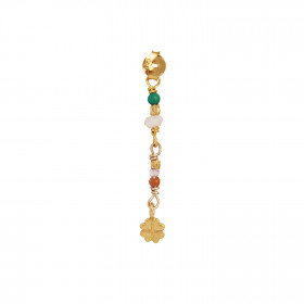 Petit Stones And Clover Behind Ear Earring - Pink Opal/Red Coral