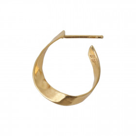 Twisted Hammered Creol Earring - Left Gold