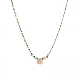 Candy Drop Necklace with Peach Moonstone, Pink Opal and Blue Jade