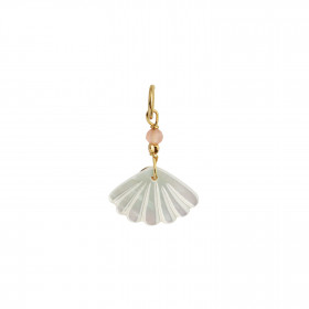 White Seashell Pendant Gold - Peach