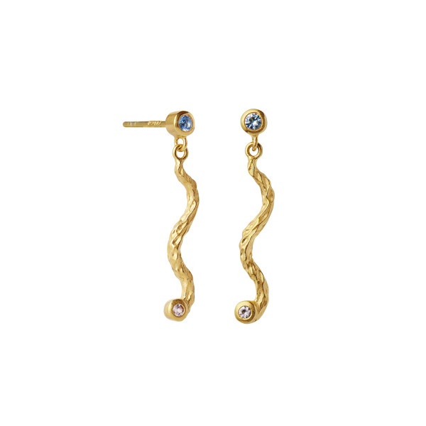 Petit Dangling La Nature Earring Gold with Stones - Sky Blue - Left