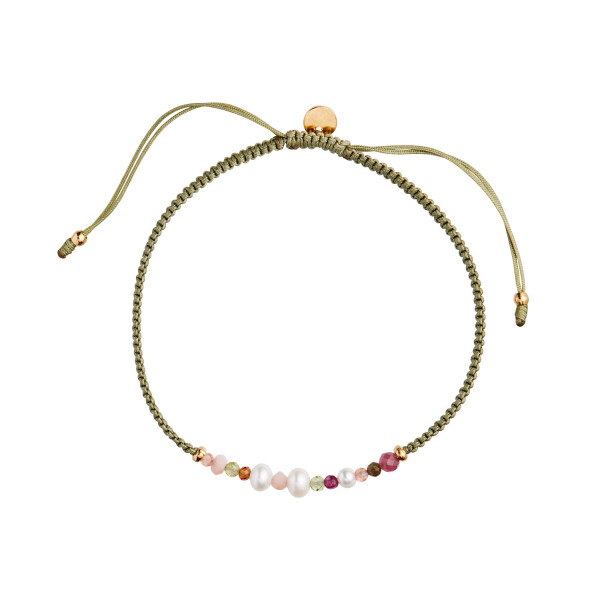 Candy Bracelet – White Forrest mix and Olive Green Ribbon