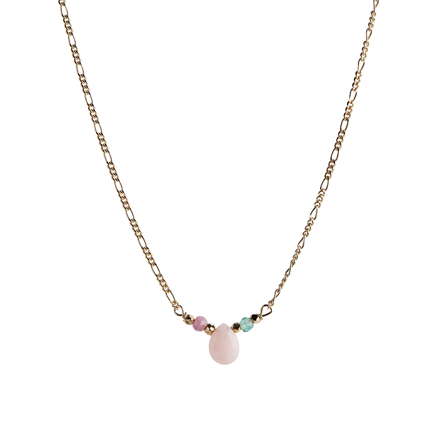 Candy Drop Necklace With Pink Opal Green Jade And Pink Turmalin