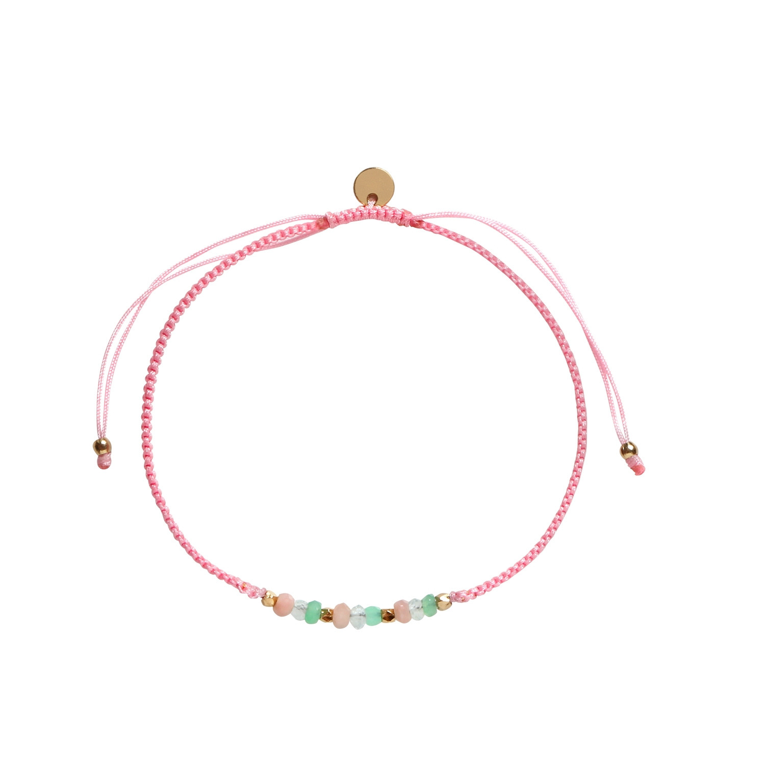 Candy Bracelet Green Summer Mix And Light Pink Ribbon