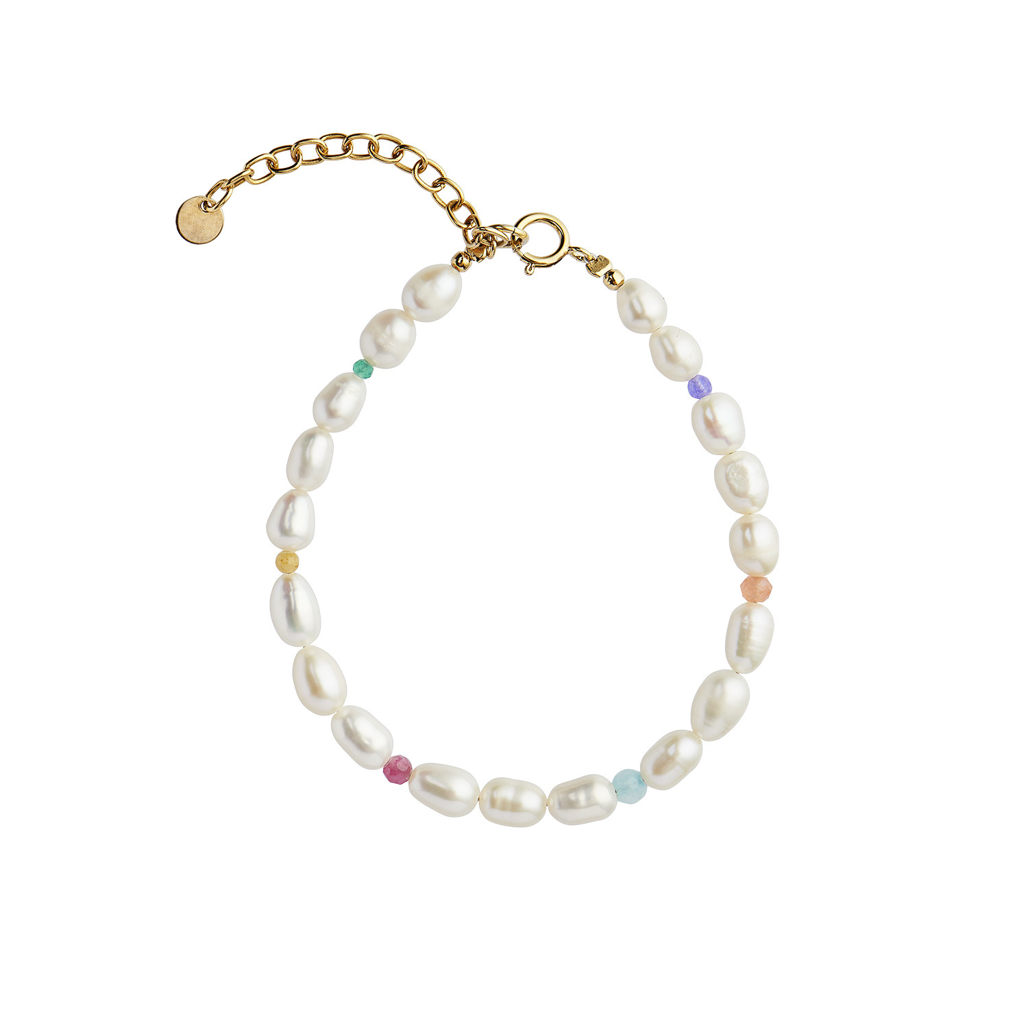 White Pearls and Candy Stones Bracelet Gold