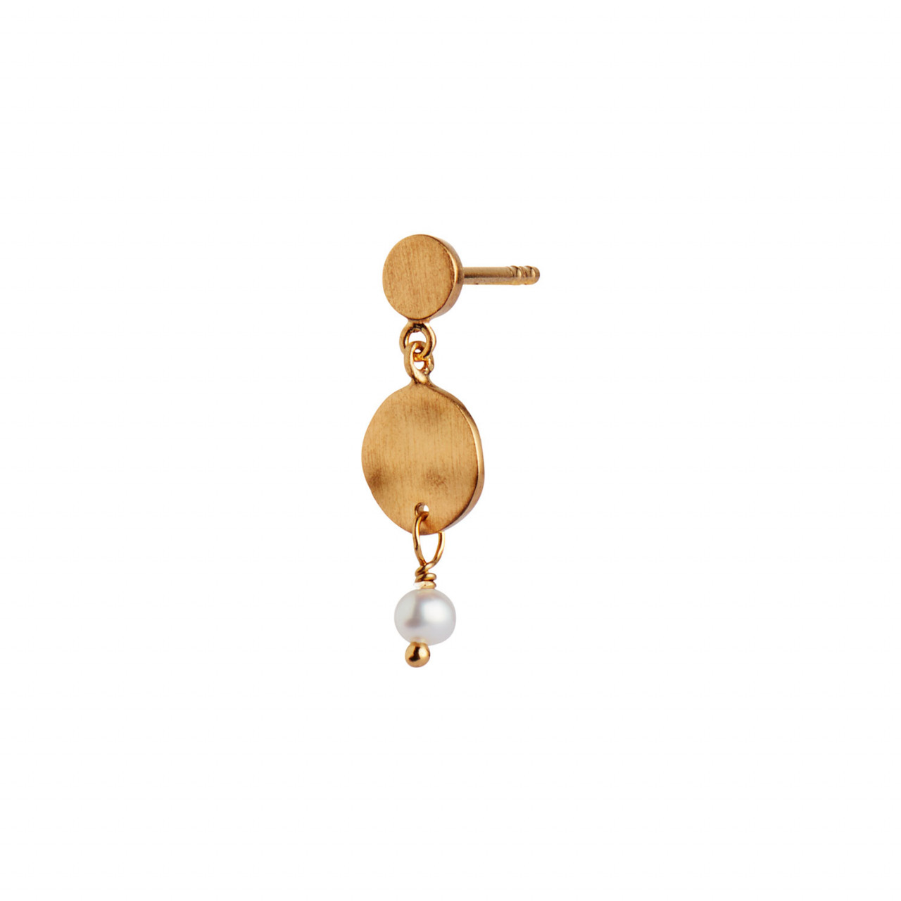 Petit Hammered Coin and Stone Earring Gold - Pearl