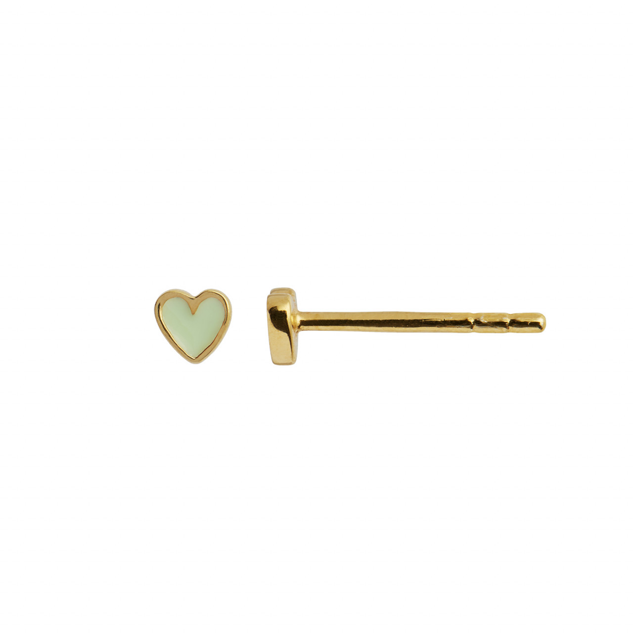 Petit Love Heart Mint Green Enamel Gold