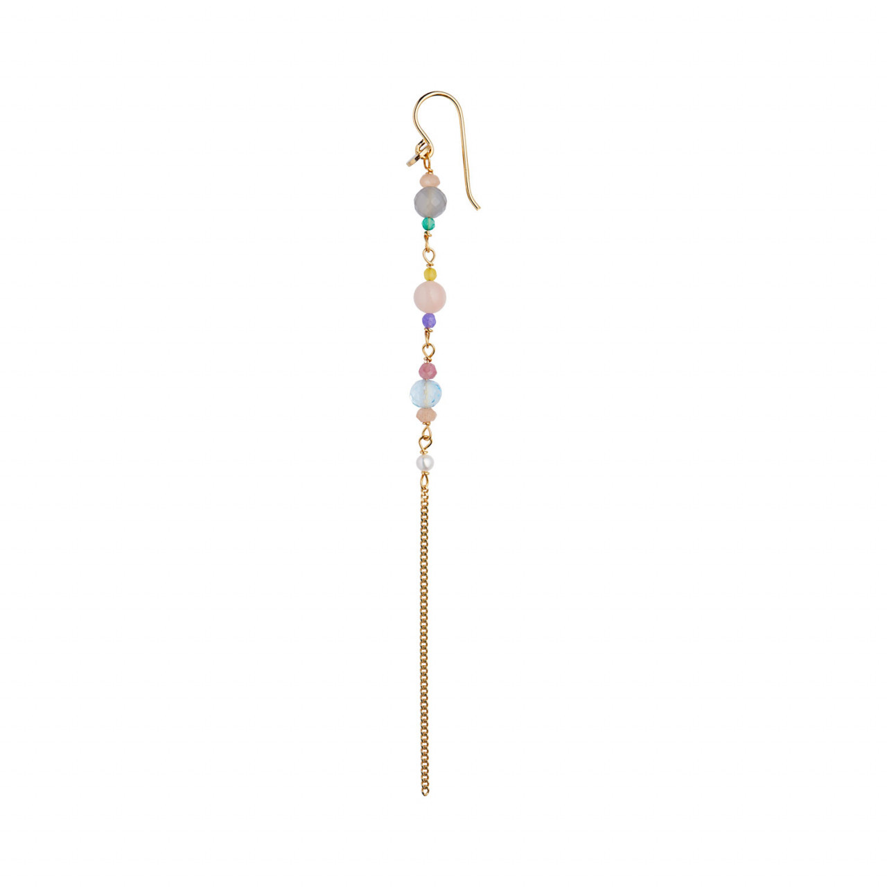 Long Earring with Stones and Chain - Candy Floss Mix
