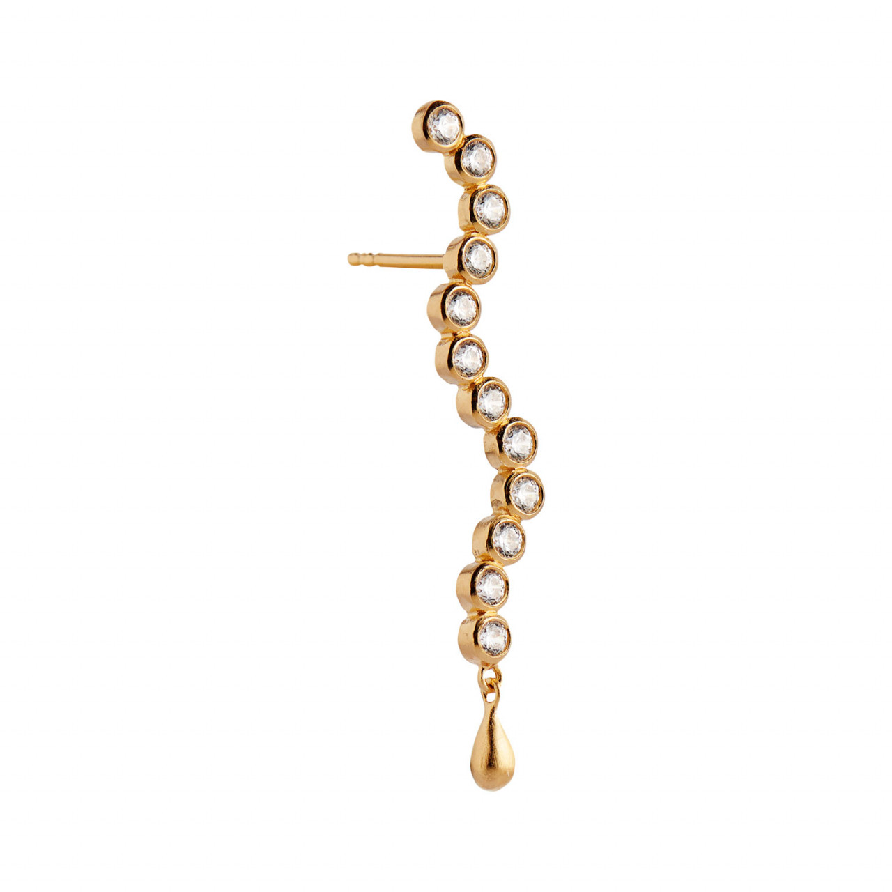 Midnight Sparkle Long Earring Gold - Left