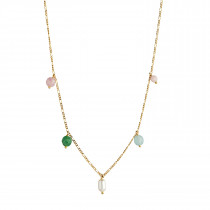 Candy Floss Necklace - Gemstones and Pearl Gold