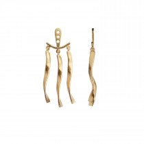 Dancing Three Twisted Curves Behind Ear Earring Gold