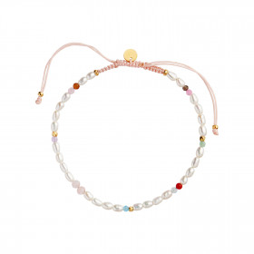 Confetti Pearl Bracelet with Pink Pastel Mix with Soft Pink Ribbon